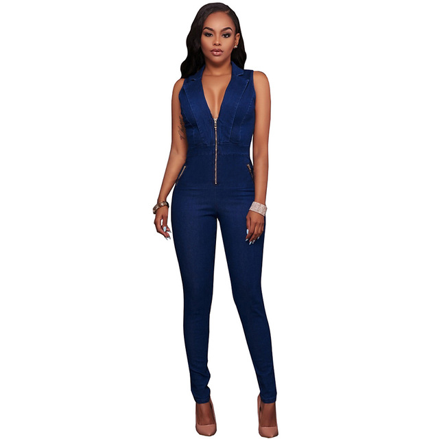 46a55fea5be 2017 New Sexy Dark Blue Bodycon Deep V-Neck Denim Jumpsuit Women Hollow Out  Salopette