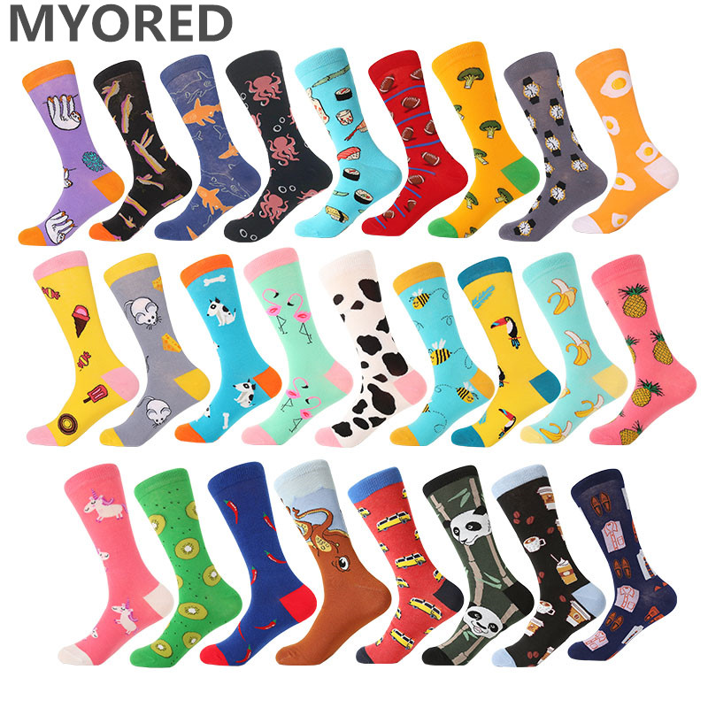 MYORED 1 pair men socks cotton funny crew socks cartoon animal fruit dog women socks novelty gift socks for spring autumn winter(China)