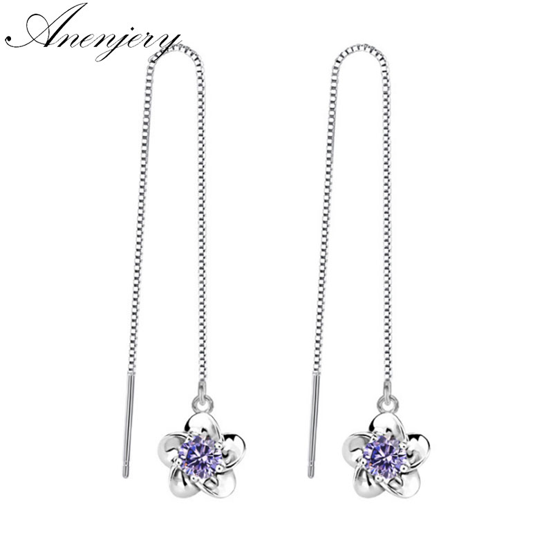 Zircone Cubique Chaîne Longue Goutte//Dangle Earrings Fashion Jewelry for Women Gift