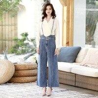 DTYNZ jeans women's high waist strap jeans loose bib straight trousers casual fashion high street denim trousers