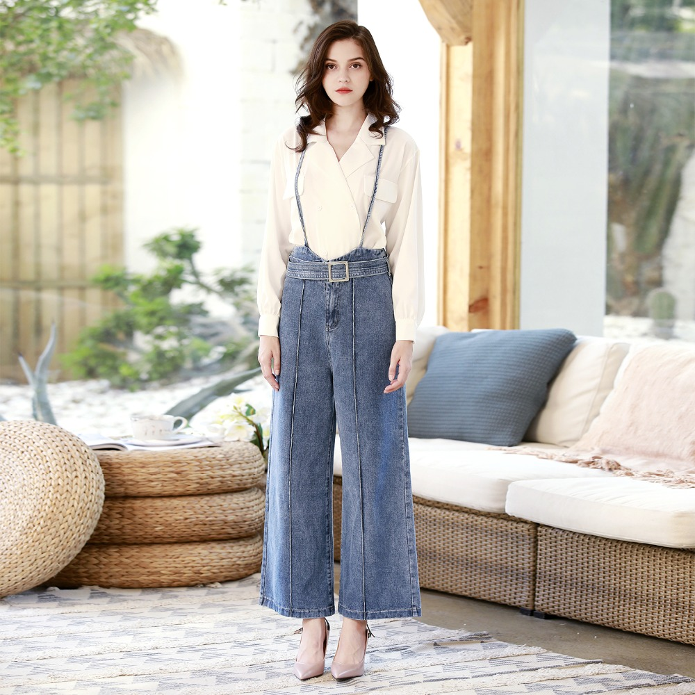 1 Vaqueros Pantalones Dtynz Moda Casual Babero Sueltos De Correa Alta Mezclilla Jeans Calle Rectos Cintura Mujeres qq0Z4