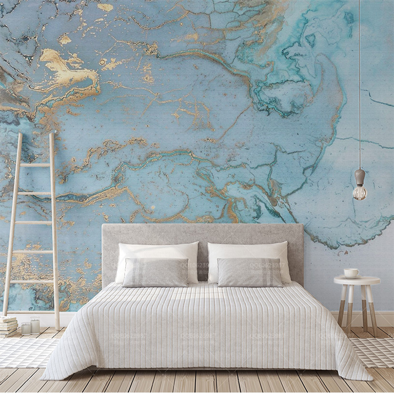 Custom Any Size 3D Mural Wall Cloth Light Luxury Wall Paper Texture Bronzing Blue Bedroom Living Room TV Background Wall Fresco