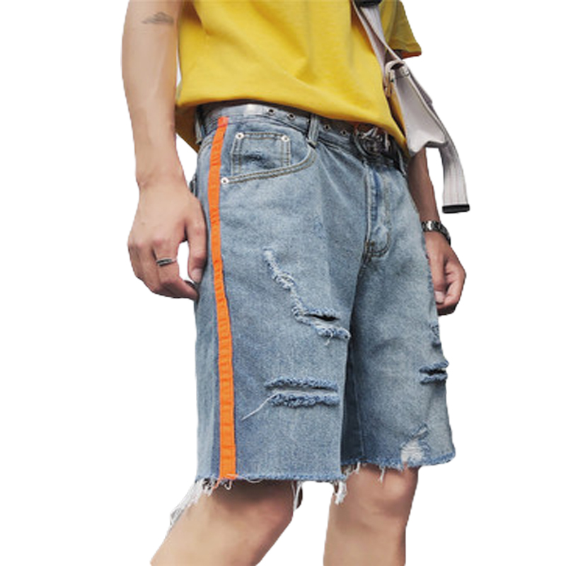 Summer Hip Hop Fashion High Street Mens Destroyed Side Stripe Denim Short Men Hole Casual Side Stripe Pants Cool Black Damage