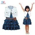 Kindstraum 2017 spring & autumn niños ropa denim dress kids flores sólido estilo naval bola de las muchachas, rc1188