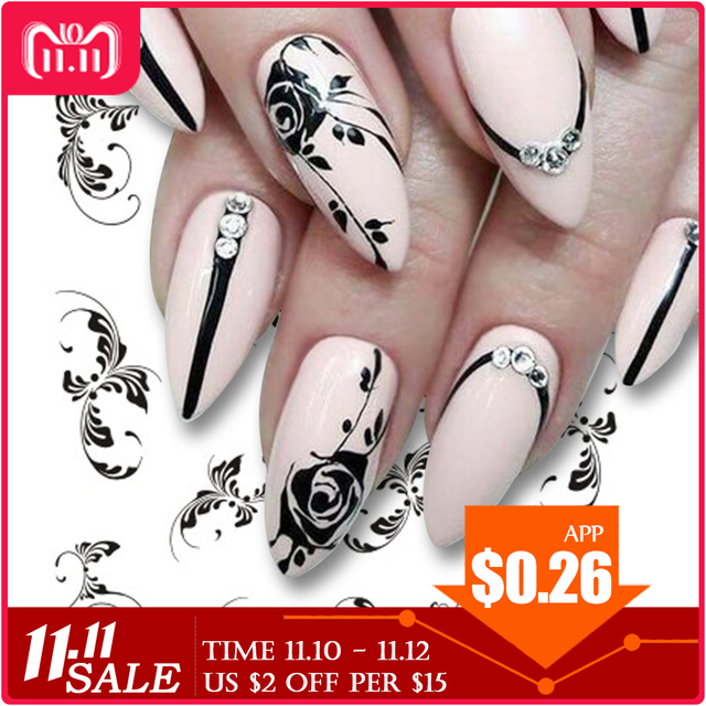 1pcs Nail Sticker Flower Water Transfer White Rose Necklace Jewelry Nail Water Decal Black Wraps Tips Manicure
