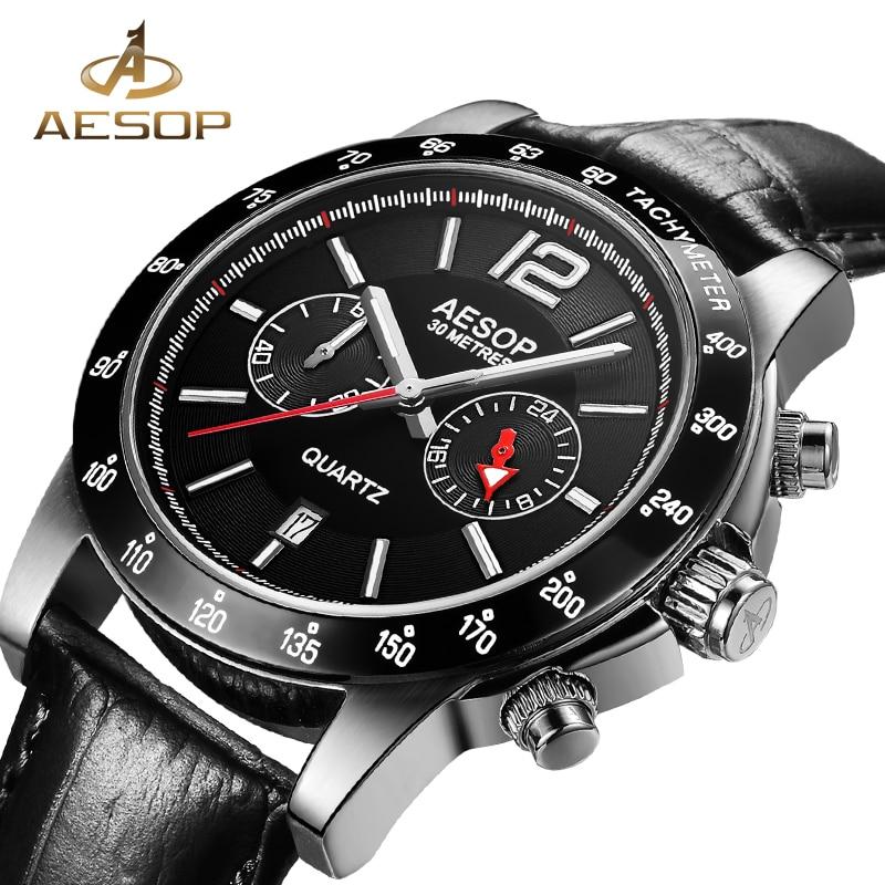 AESOP Fashion Men Watch Men Sapphire Crystal Quartz Wrist Wristwatch Leather Male Clock Relogio Masculino Hodinky Auto Date 27 jubaoli rotatable bezel male watch quartz leather strap wristwatch