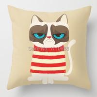 Custom Pillow case Grumpy meme cat (two sides) for 12x12 14x14 16x16 18x18 20x20 24x24 inch free shipping