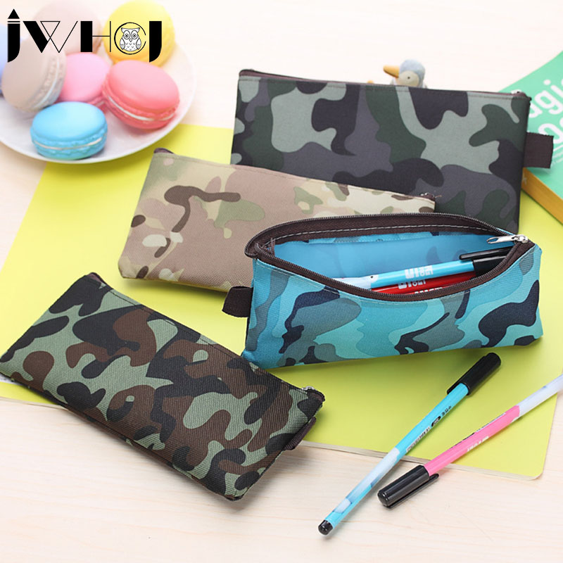 Camouflage style Oxford cloth zipper Pencil Bag Pencil Case School Supplies Cosmetic Bag children gift stationery Free shipping