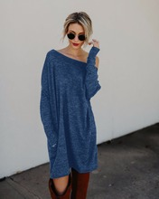 2018 Spring Autumn Sexy Women Mini Dress Long Sleeve Loose Dress Plus Size Women Clothing Pocket Knitted Sweater Dress Vestidos