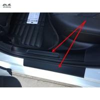 4pcs/lot car styling sticker carbon fiber grain PU leather door sill decorative cover for 2014 2017 Volkswagen VW GOLF 7 MK7