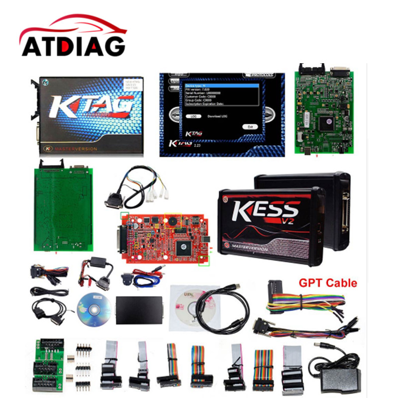 Top quality Online EU Red KESS V5.017 KESS V2 5.017 KTAG V7.020 OBD2 Manager K-TAG 7.020 V2.23 unlimited tokens ktag k tag v7 020 kess real eu v2 v5 017 sw v2 23 master ecu chip tuning tool kess 5 017 red pcb online