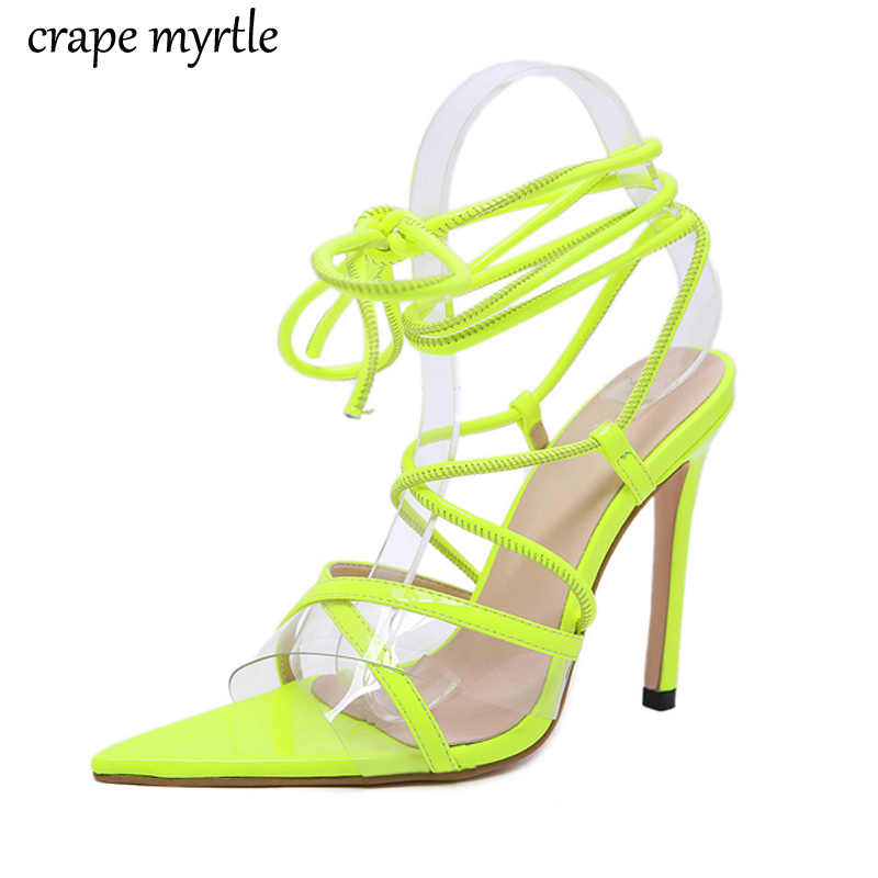 Босоножки на низком каблуке Женские желтые сандалии шнуровке Туфли гладиаторы