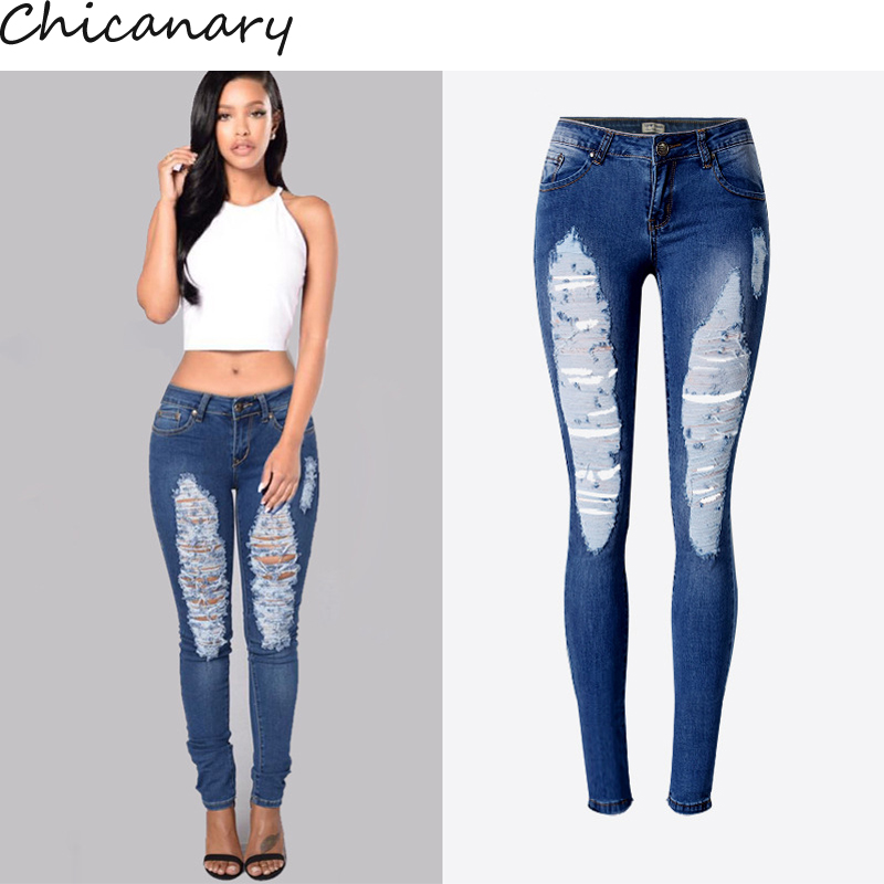 Women Sexy Low Waist Irregular Hole Ripped Slim Fit Stretchy Denim Pencil Pants Cotton Skinny Plus