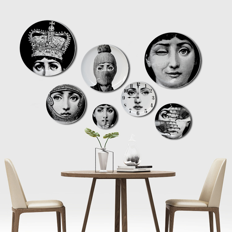 6 To 12 Inch Fornasetti Plates Human Face Illustration Hanging Dishes Artistic Nordic Style Home Decor Lina Face Ceramic Crafts