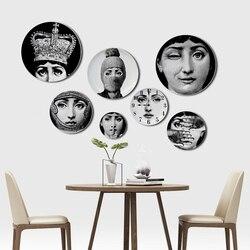 6 a 12 Polegada fornasetti placas rosto humano ilustração pendurado pratos artístico estilo nórdico decoração para casa lina rosto artesanato de cerâmica