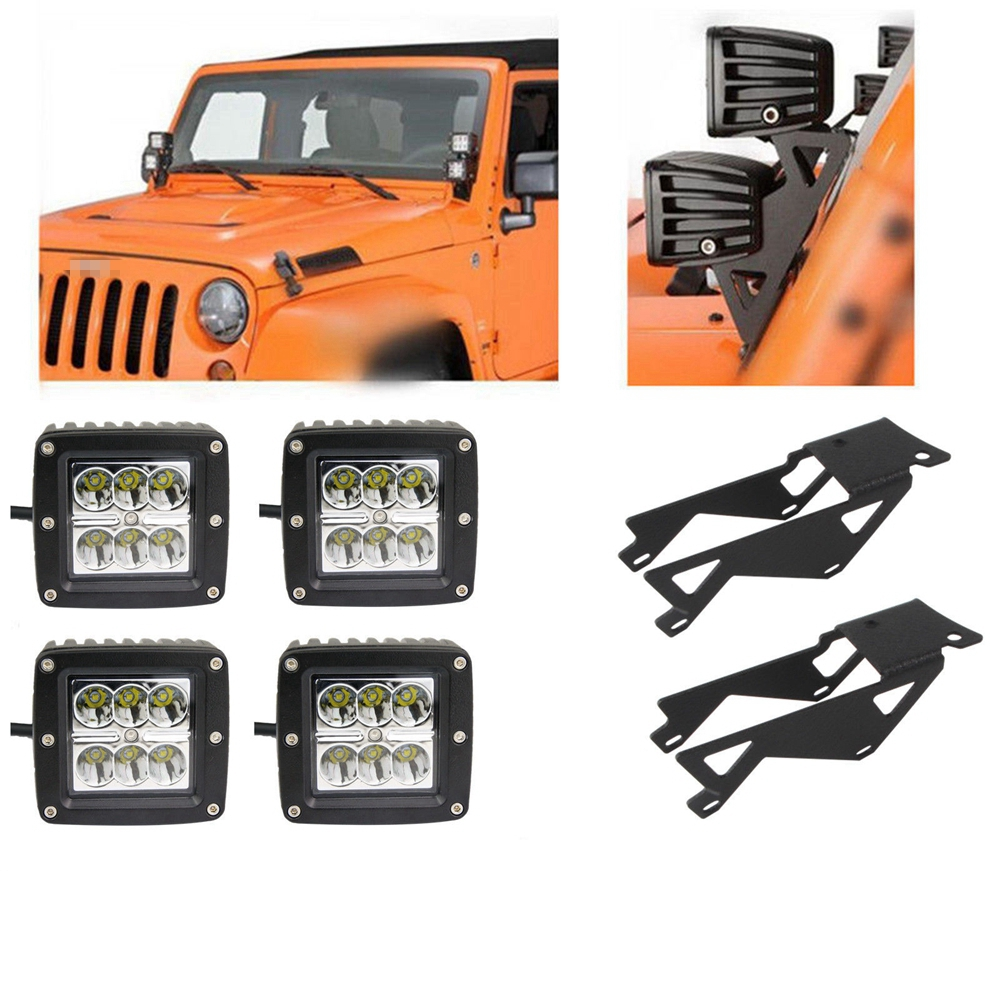 Pair Windshield Hinge Lower Corner Brackets With 4X 3 18W Cube Pods LED Flood Spot Work Light for 2007-2017 Jeep Wrangler Jk