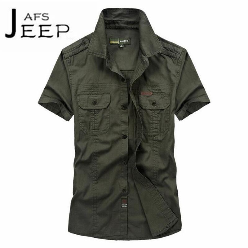 JI PU Summer 2017 men casual cotton Color solido de manga corta utillaje,Armys summer Wear resist short sleeve shirt slim