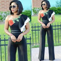 Sexy Bodysuit Hot Sale Body Elegant Jumpsuit 2018 New Women's Straight Tube, Lotus Leaf, Diagonal Shoulder, Rose Women Long
