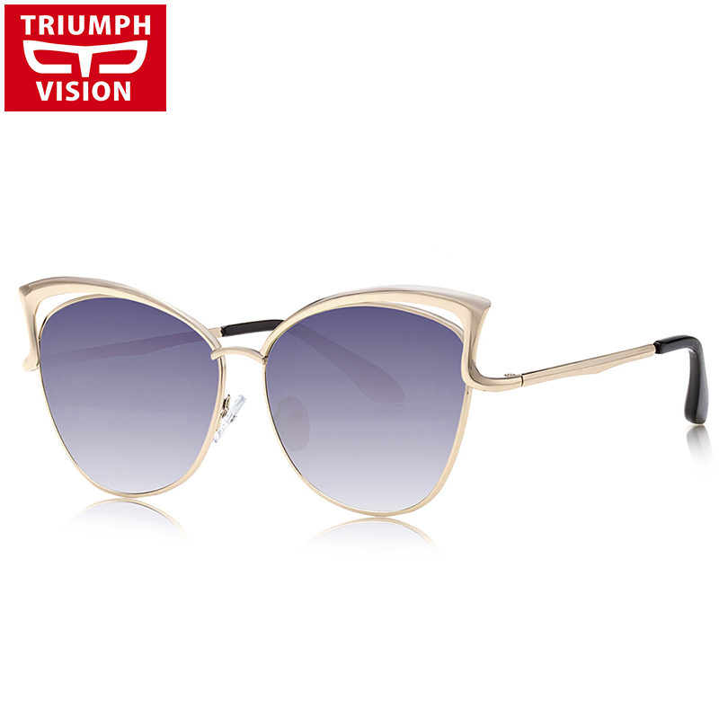 b24a67f0342 TRIUMPH VISION Metal Cat Eye Ladies Sunglasses Pink Mirror Gradient Shades  Female Sun Glasses For Women Brand Eyewear New