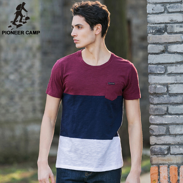 Pioneer Camp young men's cotton T-shirt hit color stitching t shirt summer o-neck men short sleeve soft and comfortable 677013