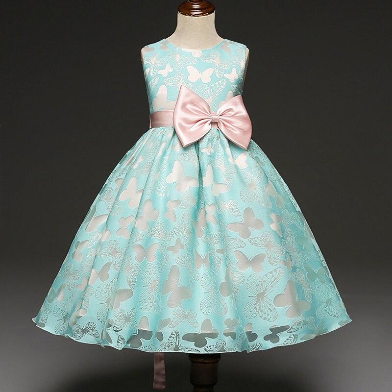 Children Kids Girls Formal Dresses Butterfly Pattern Girl Wedding Birthday Party Dress Cute Baby Girl Ball Gowns Princess Dress
