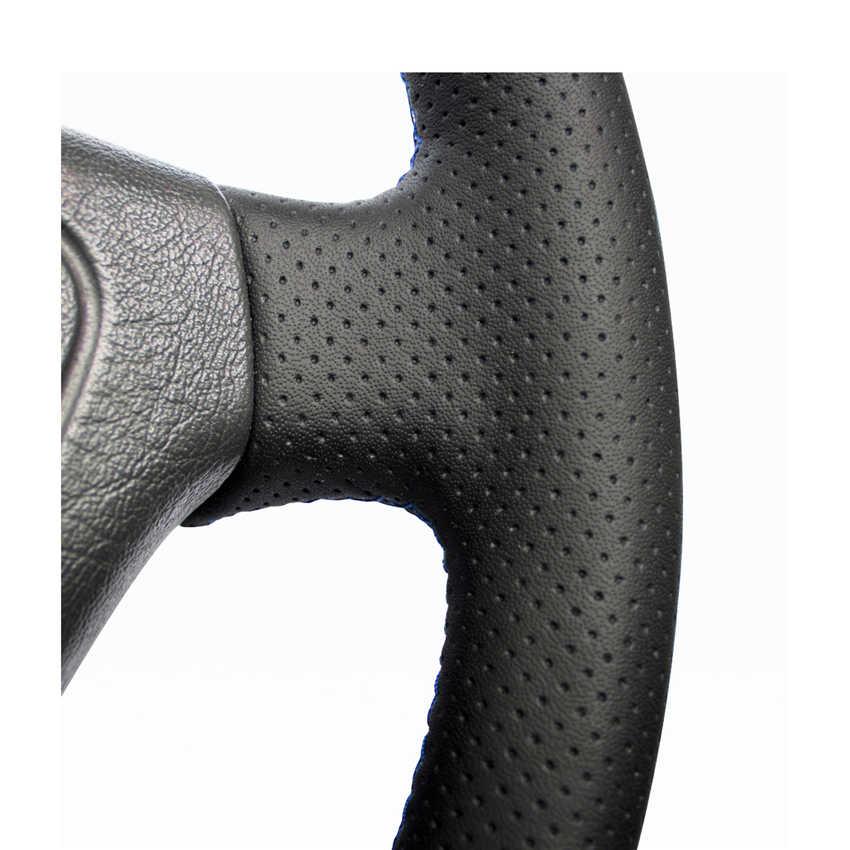 Рука сшитый черный искусственная кожа PU рулевого колеса автомобиля крышки для Mercedes Benz e-класс W210 E 200 240 280 320 1995-2002 W1