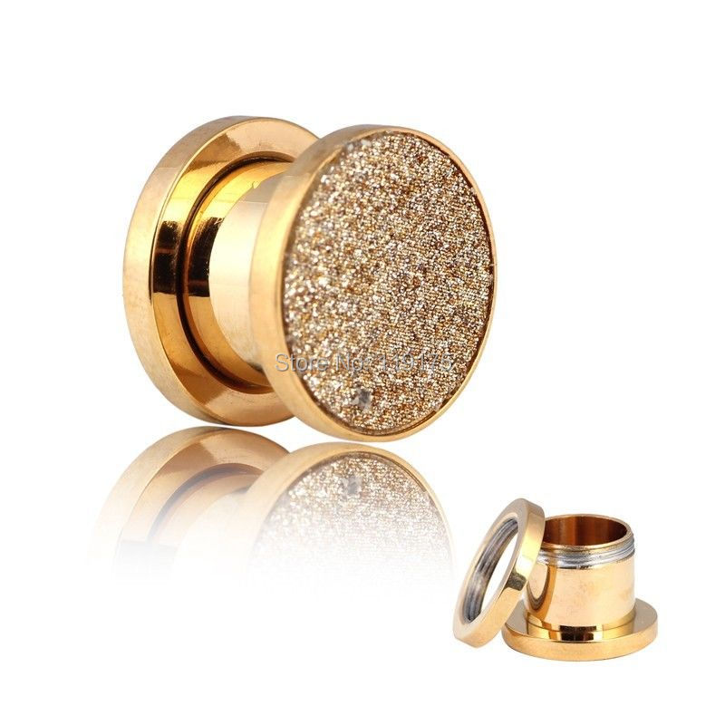 Aliexpress Gold Glitter 316l Surgical Steel Ear Gauges Earlets Tunnels Ers Plugs Body Piercing Jewelry From Reliable Export Suppliers
