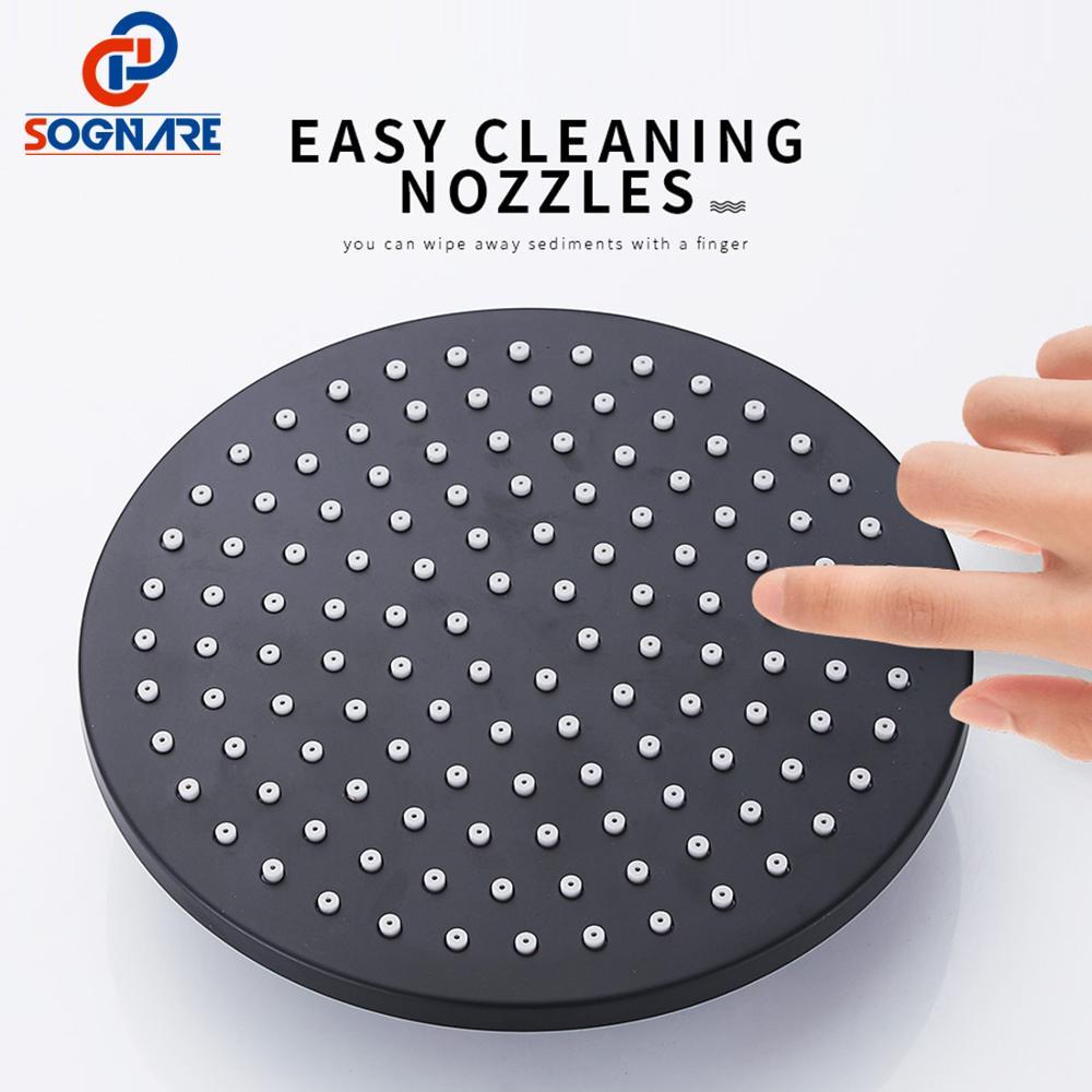 SOGNARE mosiądz czarny zestaw prysznicowy łazienkowy okrągły zestaw prysznicowy z kranem opady deszczu głowica prysznicowa do montażu ściennego pojedynczy uchwyt prysznicowy Mixer Tap
