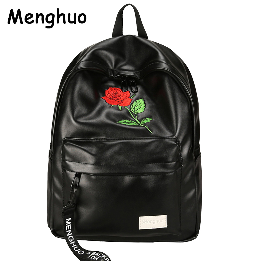 Menghuo Unisex PU Leather Backpack Women Embroidery Rose Backpack Lovers Men's Leather Backpack Travel Bag for Teenagers Mochila