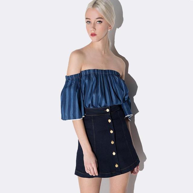16 5 2016 Nuevas Mujeres Del Verano Falda De Mezclilla De Moda Falda Azul Vaqueros Saia Faldas Cortas Botones Mas El Tamano S Xxl En De En