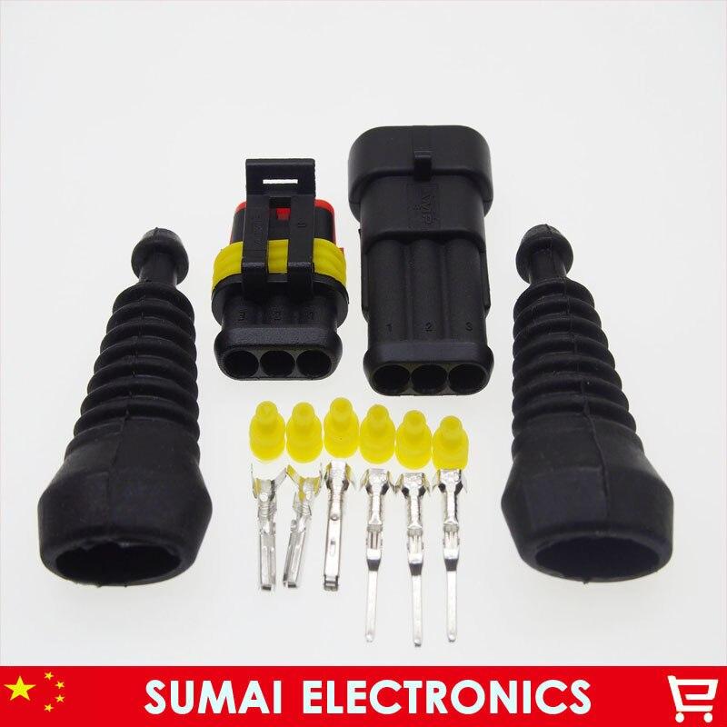 3 broches AMP mâle et femelle Auto HID connecteurs + gaine (2 pièces) ensembles pour les systèmes de démarrage/arrêt/onduleur HEV/EV etc.