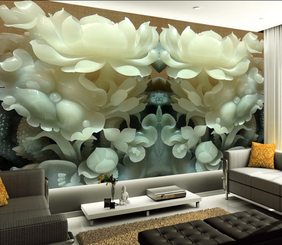 Fashion Floral Lotus Background Wallpaper 3D Mural Rolls Hotel Kids Living Room Bedroom Bar KTV Decor Any Size Custom free shipping living room bedroom office traditional magic chinese dragon wallpaper ktv bar restaurant hotel wallpaper mural