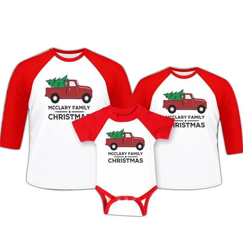 Aus Dem Ausland Importiert Weihnachten Baumwolle Gedruckt Baum T-shirt Tops Baby Mama Papa Familie Passenden T-shirts Für Kinder Vater Mutter S-xxl 0-18 Mt Auswahlmaterialien