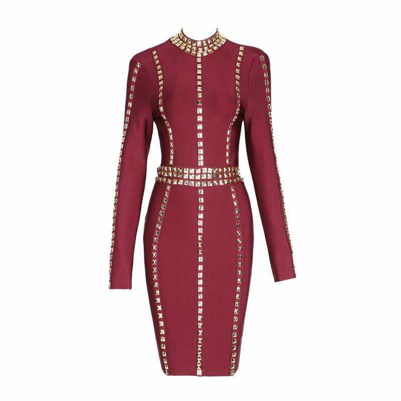 wholesale 2017 New style dress Red wine Beading Long sleeves Fashion leisure luxurious Cocktail party bandage dress (H1445)
