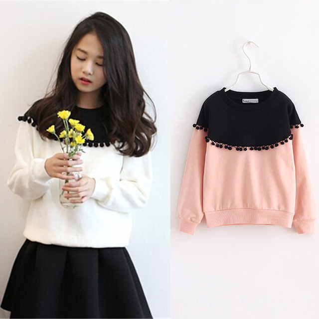 Children Girls shirt tops 2017 Spring Fashion Color patched 100% cotton knitted Snow Ball long-sleeved loose shirts for girls