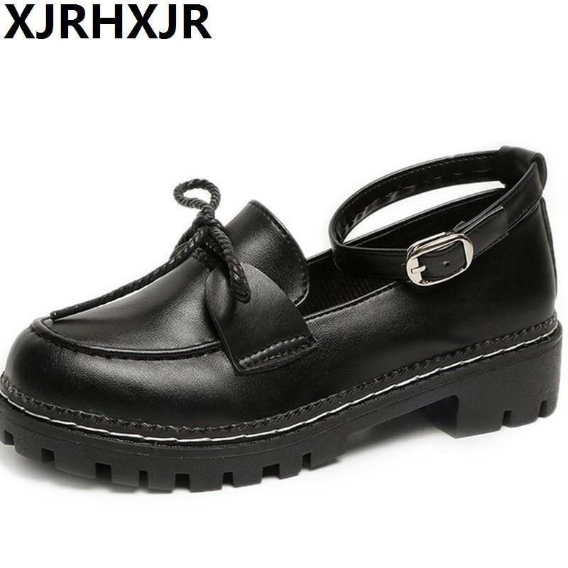 XJRHXJR Japanese Women Lolita Shoes College Girl Commuter Uniform Cosplay Pu Leather Black Size 35-40 Free Ship