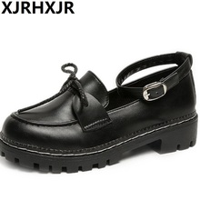 XJRHXJR Japanese Women Lolita Shoes College Girl Commuter Uniform Cosplay Pu Leather Black Size 35-40 Free Ship