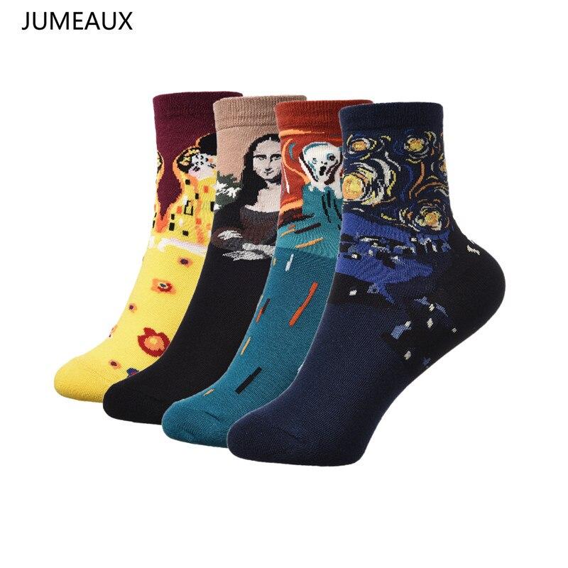 JUMEAUX 2017 Hot Sale Women Famous Van Gogh Oil Painting Mona Lisa Print Short Socks Sof ...