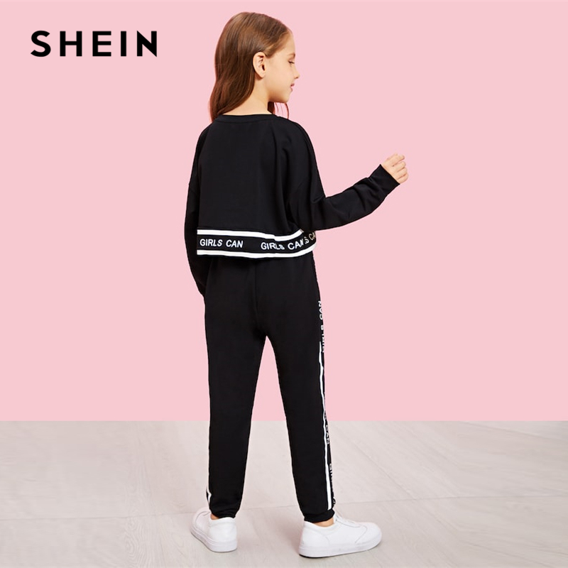 SHEIN Girls Lettering Trim Casual Pullover And Pants Set Shein Young Girls Collection