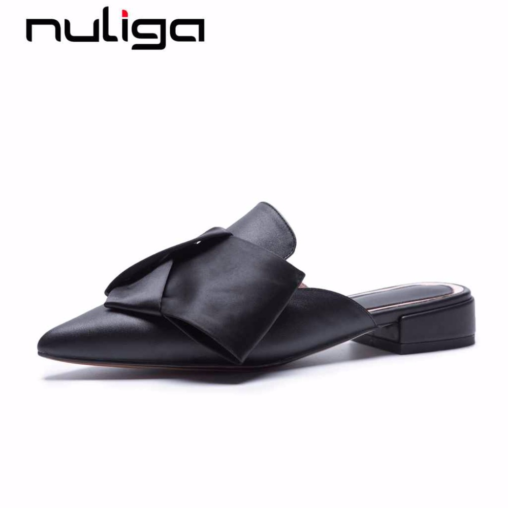 Nuliga full grain leather woman mules shoes pointed toe slip on low heels butterfly-knot sweet fairy solid big size pumps L36 футболка wearcraft premium slim fit printio graffity for keeps