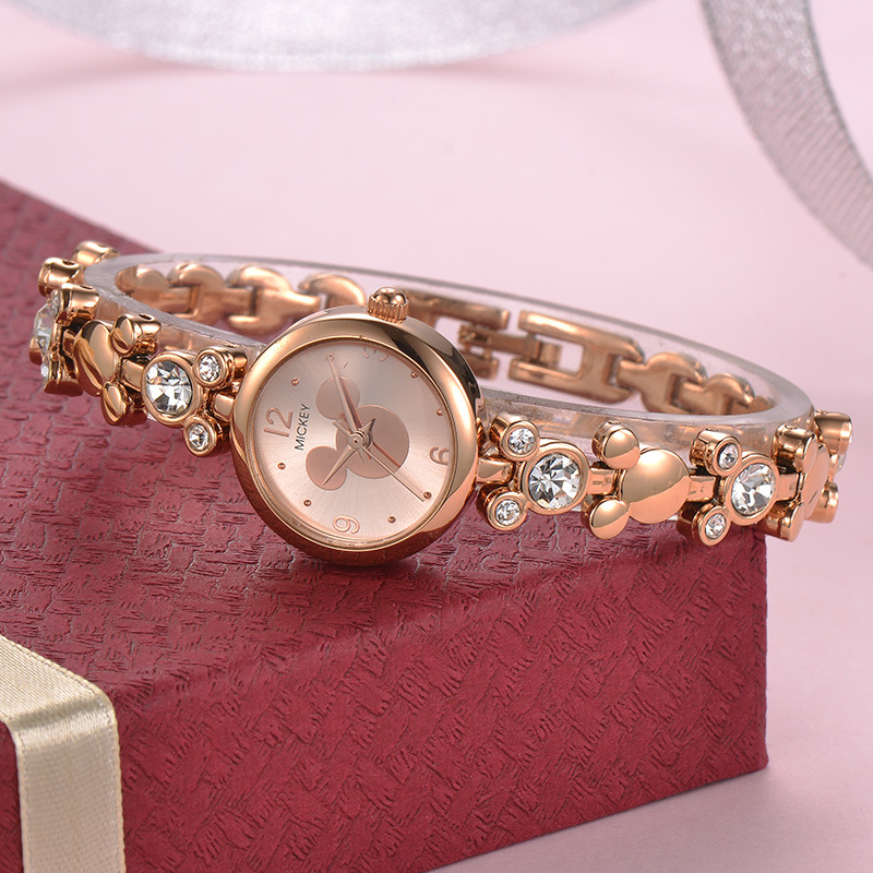 Disney Watch Women Silver Luxury Brand Fashion Rose Gold Quartz Watches  Mickey Mouse Rhinestones Stainless Steel Wristwatch-in Women s Watches from  Watches ... 5ddf19851f5e