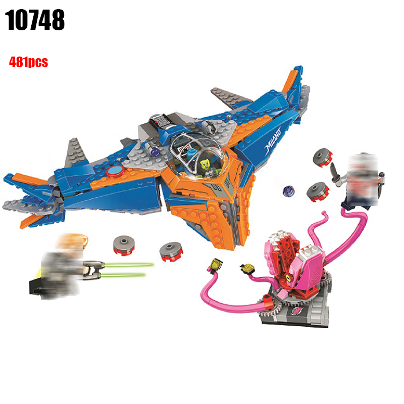 10748 Super Heroes The Milano vs. The Abilisk building blocks DIY Educational bricks toys for children Compatible with 76081 building blocks super heroes back to the future doc brown and marty mcfly with skateboard wolverine toys for children gift kf197