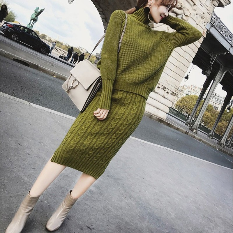 Soft Warm Knitted 2 Pieces Set Women Full Sleeve Turtleneck Sweater Pullovers & Twisted Pencil Skirt Female Sweater Set 2019