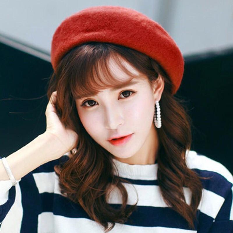 1 Pcs Women Warm Wool Plain Beret Hats Casual Beanie Hats Lady Sweet Cap -MX8