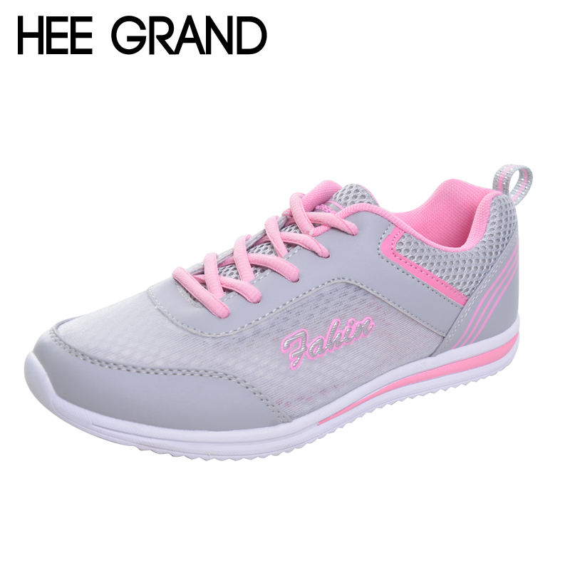 Hee Grand Comfort Casual Woman Shoes 2017 Convenient Summer Style Mesh Flats Lace-Up Woman Loafers Creepers Casual Shoes XWC1182 hee grand lace up gladiator sandals 2017 summer platform flats shoes woman casual creepers fashion beach women shoes xwz4085