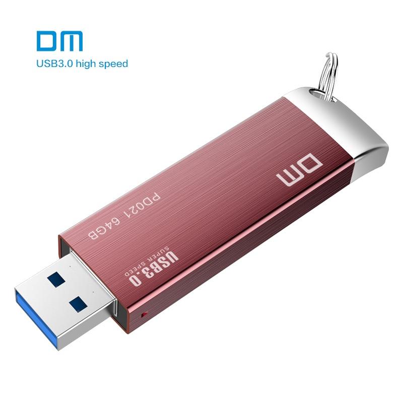 Free shipping DM PD021 16GB 32GB 64GB 128GB 256GB USB Flash Drives Metal USB 3.0 High-speed pen drive Business pen drive