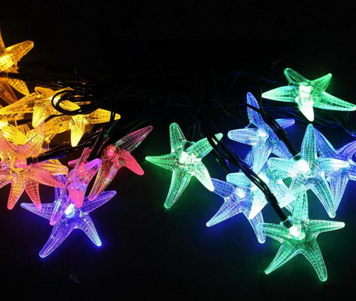 2pcs Solar Power LED Starfish Lamp Light multicolour String Strap For Garland Wedding Ch ...