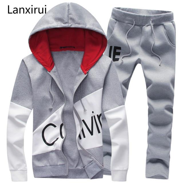 Men Fashion Two Pieces Sets Casual Tracksuit Male Sweatshirt +Pants Suits Men Plus Size 5xl Hoodies Set Sweatshirts Dropship