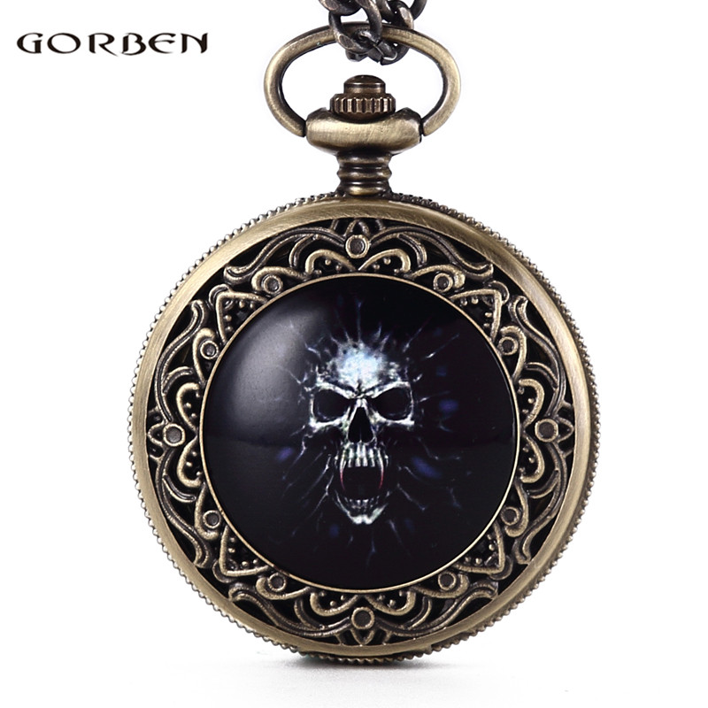 Vintage Drak Blue Skull Cool Clock Bronze Quartz Chain Pocket Watch Death Devil Pattern Best Gift To Men Women Watches Box Set mingen fashion paris scene bronze men quartz pocket watch chain souvenir gift
