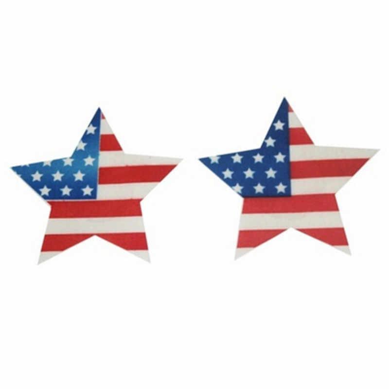 Adulto jogo 1 par estrela forma pasta mama bandeira americana design sutiã adesivo adesivos mamilo capa pasta de leite para mulheres sexy